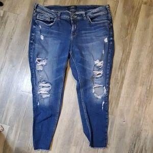 Silver Jeans Suki Skinny Crop Destroyed Jeans